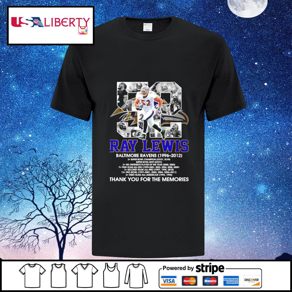 52 Ray Lewis Baltimore Raven 1996-2012 signature thank you for the memories shirt