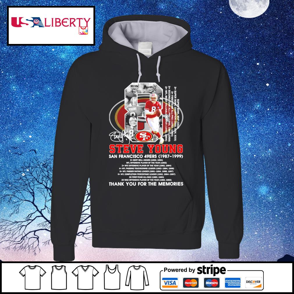 8 Steve Young San Francisco 49Ers 1987-1999 signature thank you for the memories hoodie