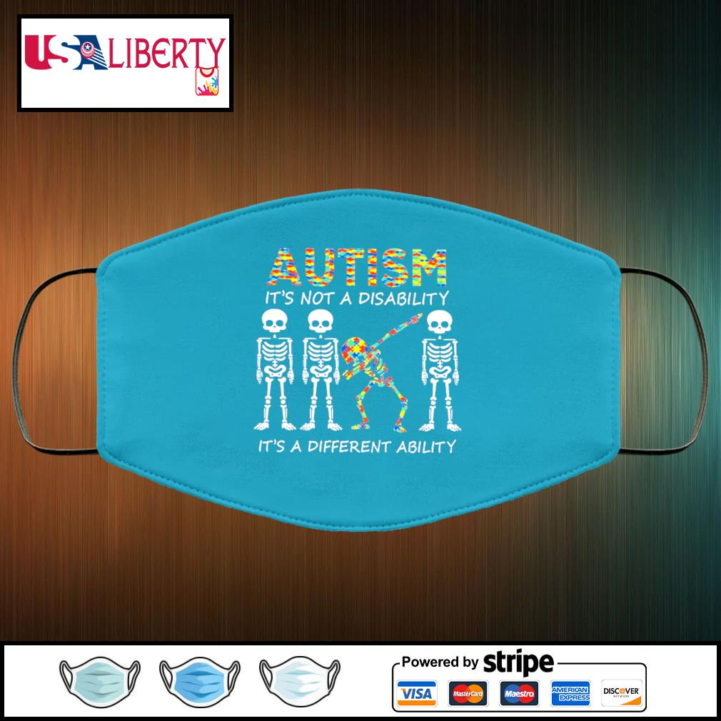 Autism is not a disability it's a different ability face mask face-mask-light-blue-color