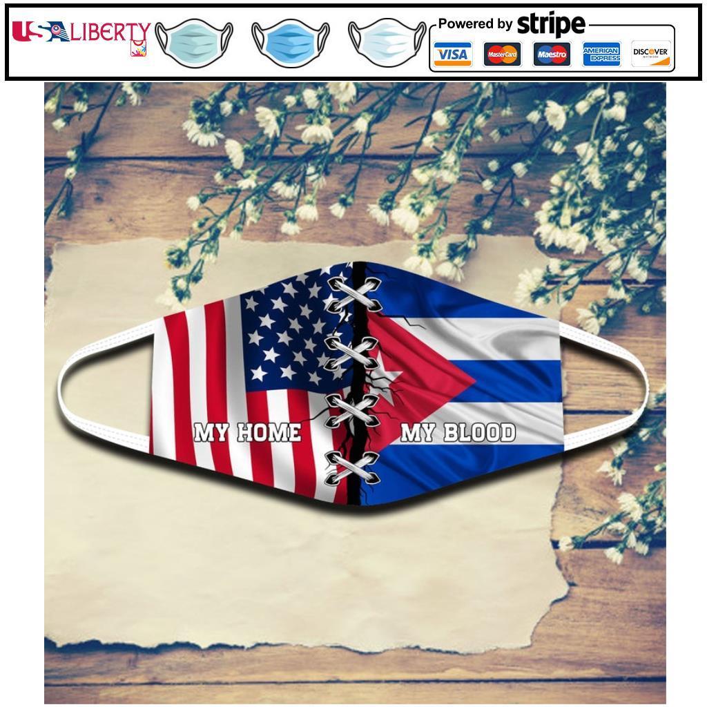 Cuba My Blood America My Home Face Mask Cuba Expat Mask Cuban Root Adult Size face mask