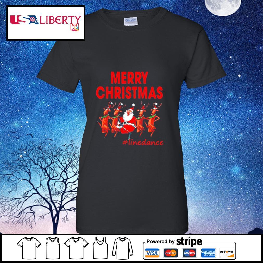 Santa Clau Merry Christmas Line Dancing s ladies tee