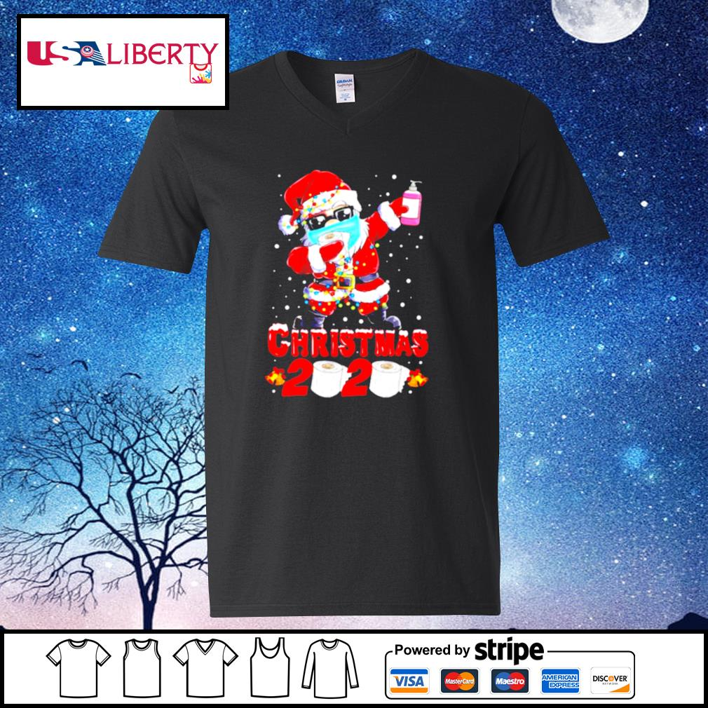Santa Claus Dabbing Toilet Paper Merry Christmas 2020 s v-neck t-shirt