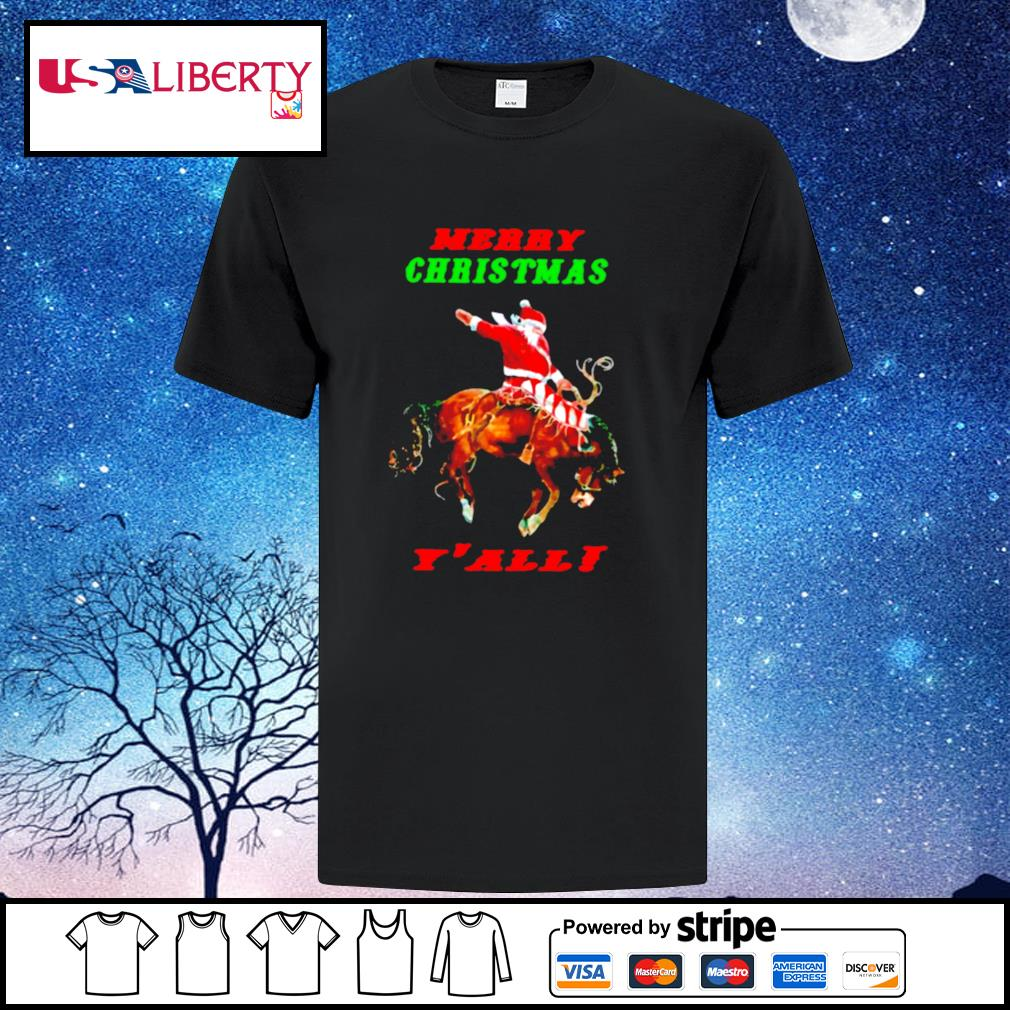 Santa Claus Riding Horse Merry Christmas Yall shirt