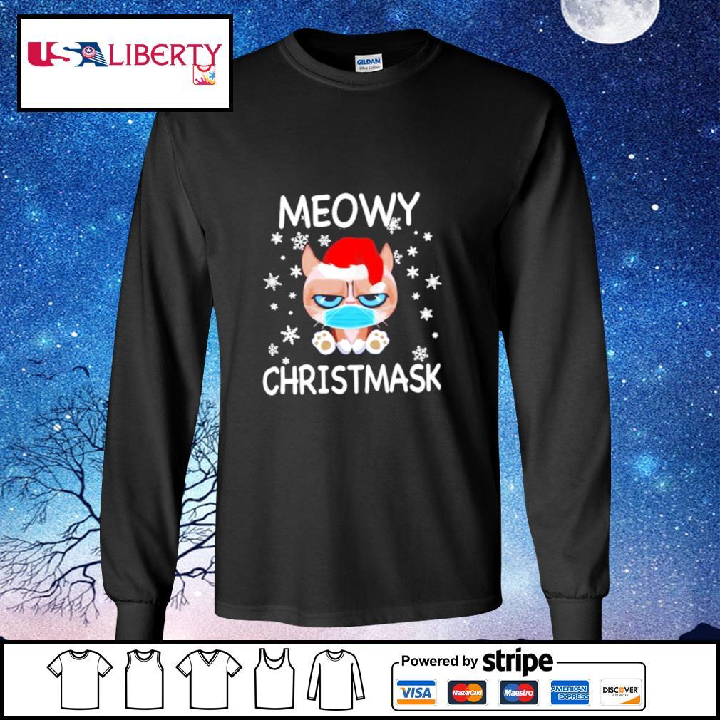 Santa Grumpy Cat Face Mask Meowy christmas s longsleeve-tee