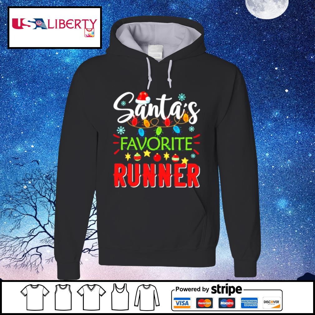 Santa's Favorite Runner Xmas Light Santa Hat Christmas Gift Santas Favorite Runner s hoodie