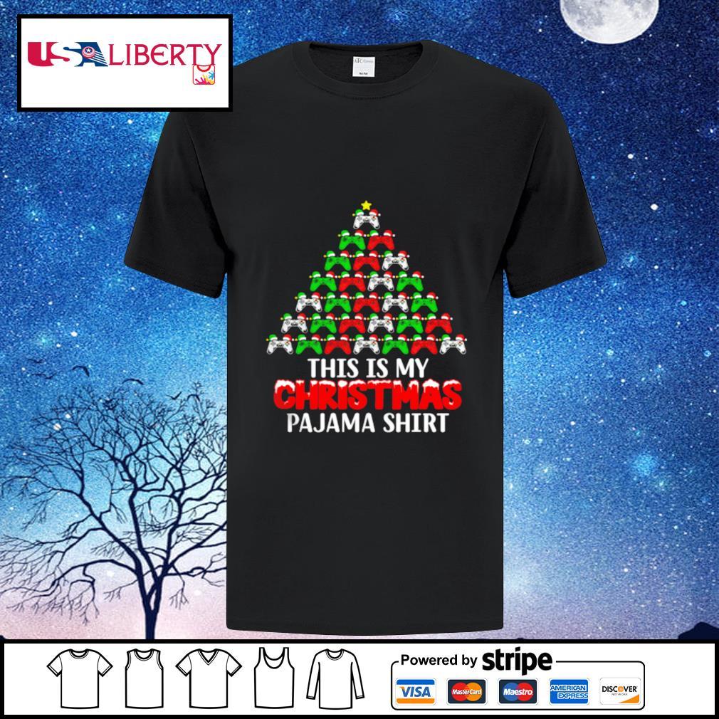 This Is My Christmas Pajama Santa Hat Joystick Tree Gamer shirt